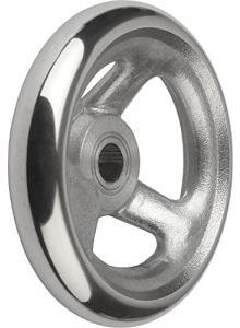 High-Gloss Polished Finish Metric Style D Stainless Steel Bushing 8 mm Bore Size Kipp 06287-2125X08 Duroplastic Black Disc Handwheel with Revolving Handle 125 mm Diameter